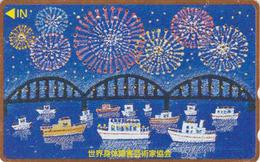 TC DOREE JAPON / 110-198363 - Peinture - BATEAU PONT & FEU D'ARTIFICE - SHIP & BRIDGE JAPAN Painting GOLD Phonecard - 15 - Bateaux