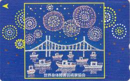 TC DOREE JAPON / 110-210695 - Peinture - BATEAU PONT & FEU D'ARTIFICE - SHIP & BRIDGE JAPAN Painting GOLD Phonecard - 16 - Bateaux