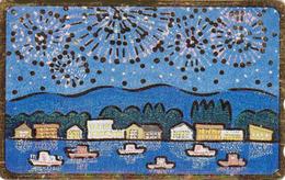 TC DOREE JAPON / 110-011 - Peinture - BATEAU & FEU D'ARTIFICE - SHIP & FIREWORKS JAPAN Painting GOLD Phonecard - 17 - Bateaux