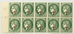 YT 488 (**) 1940 Bloc De 10 Type Cérès 1f Sur 2f50 Vert (côte 17 Euros) – 0 Lot - France