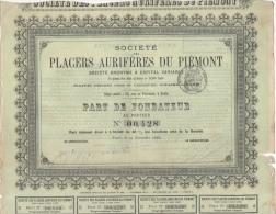 Action Titre Placers Aurifères Piémont 59 Rue Provence Paris Mine D' Or Savoie Italie Part Fondateur Au Porteur Mines - Mines