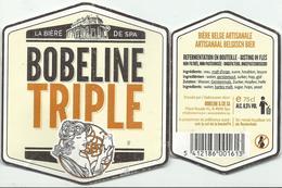 étiquette Décollée Bière Bobeline Triple Brasserie Bobeline Spa - Bière