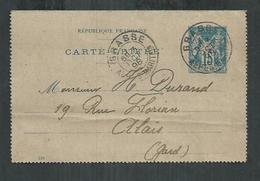 Entier Postal; Carte Lettre 15 Cts Type Sage Exp, De Grasse (Alpes Maritimes) Pour Alais (Gard) - Entiers Postaux