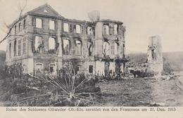 CARTE ALLEMANDE - GUERRE 14 -18 - OLLWEILER - OLLWILLER - ALSACE - CHÂTEAU DÉTRUIT EN 1915 - 2 CACHETS MILITAIRES - Weltkrieg 1914-18