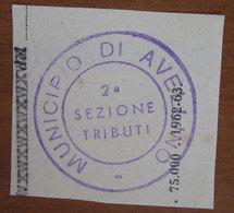 Timbro Italia  Municipio Avellino Sezione Tributi - Frammento - Seals Of Generality