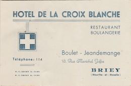 Carte Commerciale 1955 / Hôtel De La Croix Blanche / Boulet-Jeandemange / 54 Briey - Mapas