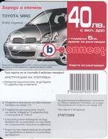 BULGARIA - Toyota Yaris, B Connect Prepaid Card 40 Leva, Exp.date 27/07/08, Sample - Auto's