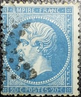 N°22. Variétés (Voir Tache Blanche Entre A Et N De Franc). Oblitéré étoile De Paris Muette. - 1862 Napoléon III