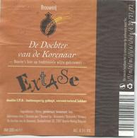 étiquette Décollée Bière Extase Brasserie De Dochter Van De Korenaar Baarle-Hertog - Bière