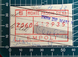 Timbro Italia Banca  Monte Paschi Siena - Empoli - Frammento - Seals Of Generality