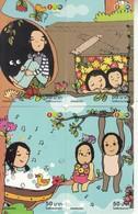 4 X Thailand  Phonecards 12Call Comic Puzzle Childreen - Telefoonkaarten