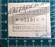 Timbro Italia  Banca BCI - Barletta - Frammento - Seals Of Generality