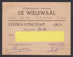 """Turnhout Vereniging """" De Wielewaal """" Lidkaart 1960 Ornitologische Vereniging - Maps"""