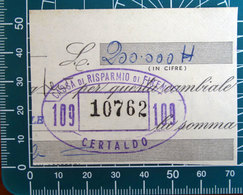Timbro Italia  Banca Cassa Risparmio Firenze - Certaldo - Frammento - Seals Of Generality