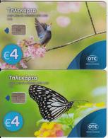 "GREECE - Bird/Butterfly, Set Of 2 Collector""s Cards No 133-134, Tirage 2000, 04/17, Samples(no CN) - Griekenland"