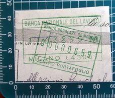 Timbro Italia  Banca Banca Banca Nazionale Del Lavoro - Milano + Modena - Frammento - Seals Of Generality