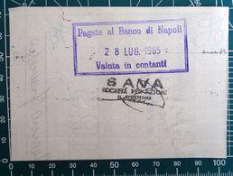 Timbro Italia 1965  Banca Banco Di Napoli + Sava - Frammento - Seals Of Generality