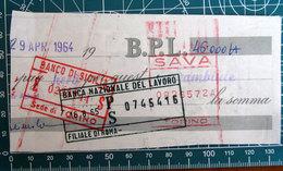 Timbro Italia 1964 Banco Di Silia (Torino) + Banca Nazionale Lavoro (Roma) - Frammento - Seals Of Generality