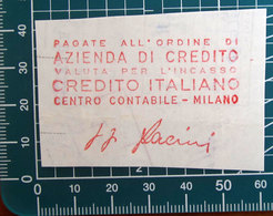 Timbro Italia Credito Italiano - Milano - Frammento - Seals Of Generality