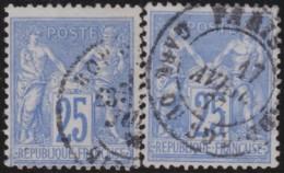 France    .    Yvert  .    78   2x          .       O      .        Oblitéré - 1876-1898 Sage (Type II)