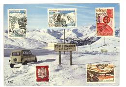 CPM ANDORRE VALLS ANDORRA Sommet Enneigé Port D'ENVALIRA Voiture RENAULT 4L Dessin De Timbres 1967 - Andorra