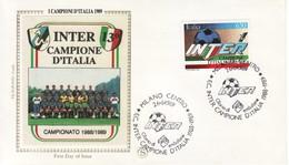 """1989 - FDC """" INTER CAMPIONE D' ITALIA """" FILAGRANO VEDI++++ - 6. 1946-.. Republic"""