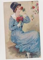 Carte Fantaisie Signée ??? / Jolie Jeune Femme Cueillant Des Fleurs - Illustrators & Photographers