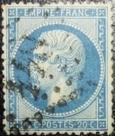 N°22. Rare Variété (Voir Filet Inférieure Du Cadre Bleu Foncé). Oblitéré Losange G.C. - 1862 Napoléon III