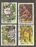 Denmark: Full Set Of 4 Used Stamps, Endangered Plant Species, 1990, Mi#981-984 - Dänemark
