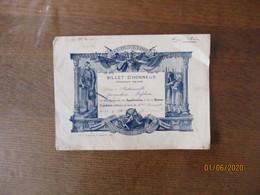 CAUDRY PENSIONNAT STE CLOTILDE BILLET D'HONNEUR DELIVRE A MADEMOISELLE JACQUELINE LEFEBVRE LE 11-4-1941 - Diploma & School Reports