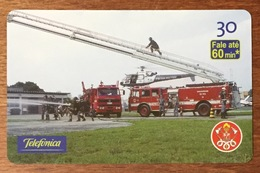 POMPIER GRANDE ÉCHELLE BRESIL BRASIL CARTE TÉLÉPHONIQUE INDUCTIVE POUR COLLECTION TÉLÉCARTE - Pompiers