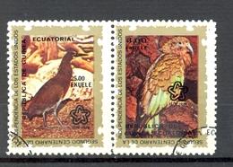 Timbre Oblitéré - Guinée Equatoriale / Guinéa - Oiseaux / Birds - Paire - Tiger Heron Et Kea (Nestor Notabilis) - (1) - Equatoriaal Guinea