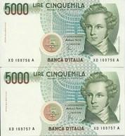 LIRE 5000 - SERIE X  SOSTITUTIVA - DUE BANCONOTE CONSECUTIVE - FIOR DI STAMPA - - 5000 Lire