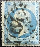 """N°22. Rare Variété (Filet Inférieure Du Cadre Doublé """"1 Cassé""""). Oblitéré Losange G.C. N°4034 Troyes - 1862 Napoléon III"""