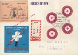 BRD 4x 400 Auf R-SoKa Raketenpost Mit Raketenflugvignette, ESST Bonn, 100 Jahre Rotes Kreuz 1963 - Covers & Documents