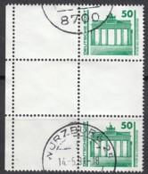 DDR  SZ 25 I, Links Mit Leerfeldern Und Bogenrand, Gestempelt, Bauwerke Und Denkmäler 1990 - DDR