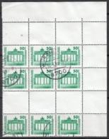 DDR  3x SZ 25,oben Mit Leerfeldern Und Eckrand Oben Rechts, Gestempelt, Bauwerke Und Denkmäler 1990 - DDR