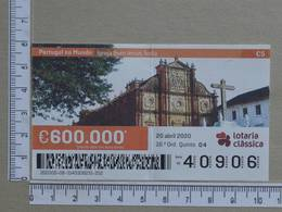 PORTUGAL - 2020 - LOTARIA CLASSICA -  16ª -  2 SCANS   (Nº35839) - Lottery Tickets