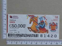 PORTUGAL - 2020 - LOTARIA POPULAR -  2ª -  2 SCANS   (Nº35861) - Lottery Tickets