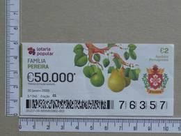 PORTUGAL - 2020 - LOTARIA POPULAR -  5ª -  2 SCANS   (Nº35864) - Lottery Tickets