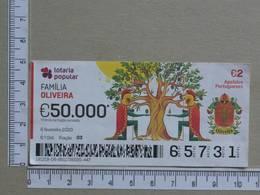 PORTUGAL - 2020 - LOTARIA POPULAR -  6ª -  2 SCANS   (Nº35865) - Lottery Tickets