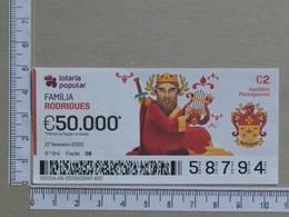 PORTUGAL - 2020 - LOTARIA POPULAR -  9ª -  2 SCANS   (Nº35868) - Lottery Tickets