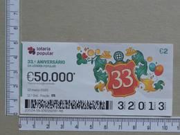 PORTUGAL - 2020 - LOTARIA POPULAR -  11ª -  2 SCANS   (Nº35870) - Lottery Tickets