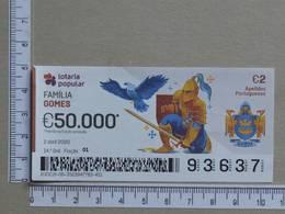 PORTUGAL - 2020 - LOTARIA POPULAR -  14ª -  2 SCANS   (Nº35873) - Lottery Tickets
