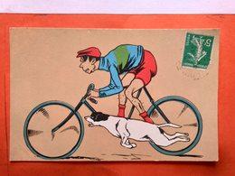 CPA. Homme à Vélo Et Son Chien.Litho Couleur  (AGM 251) (D1.667) - Illustrators & Photographers