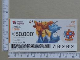 PORTUGAL - 2020 - LOTARIA POPULAR -  19ª -  2 SCANS   (Nº35877) - Lottery Tickets
