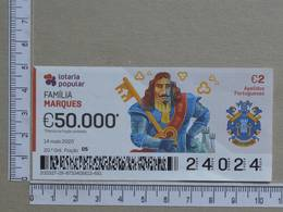 PORTUGAL - 2020 - LOTARIA POPULAR -  20ª -  2 SCANS   (Nº35878) - Lottery Tickets