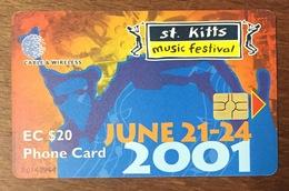 SAINT KITTS & NEVIS MUSIC FESTIVAL CABLE & WIRELESS PHONE CARD 20$ TÉLÉCARTE - St. Kitts & Nevis