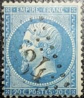 N°22. Variété (Voir Filet Supérieure Du Cadre). Oblitéré Losange G.C. N°?534 - 1862 Napoléon III