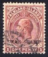 Scott MR2   1d KEVII Overprinted War Stamp. Used. - Islas Malvinas